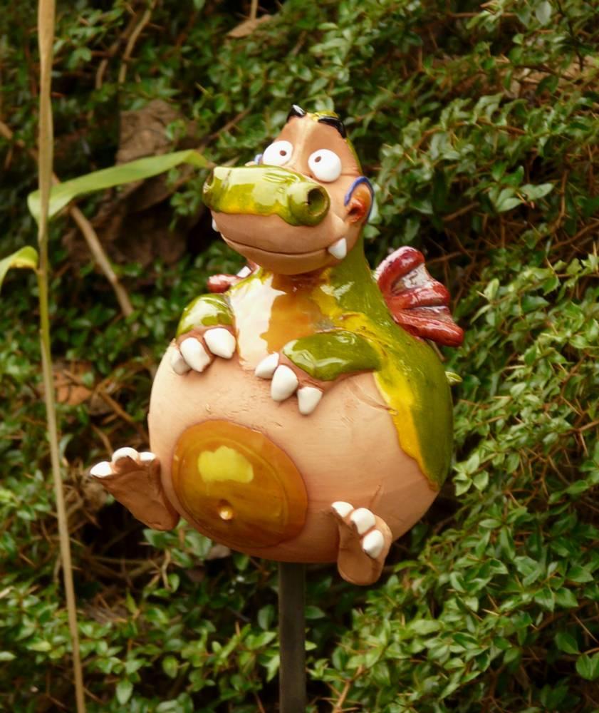 Gartenstecker Gartenkugel Beetstecker Drache Keramik Gartendeko