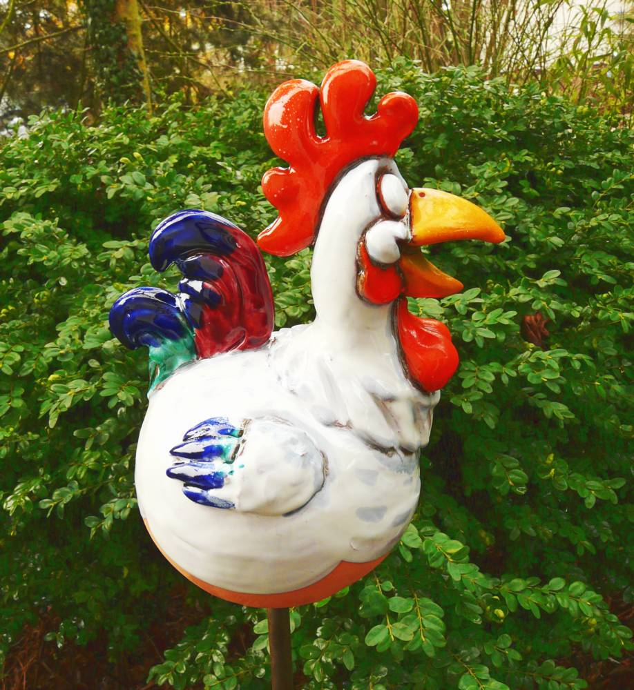 GroB Gartenstecker Gartenkugel Beetstecker Hahn Keramik Gartendeko