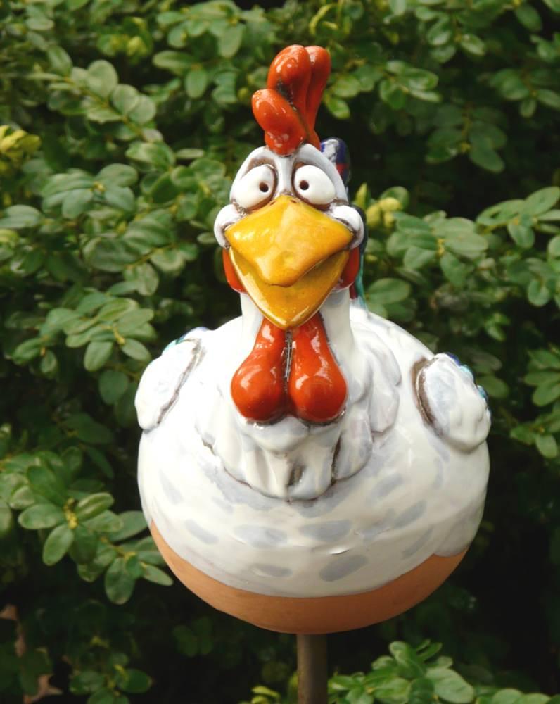 Gartenstecker Gartenkugel Beetstecker Hahn Keramik Gartendeko