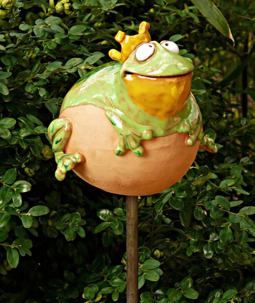 gartenstecker gartenkugel beetstecker frosch keramik gartendeko 2 wahl ebay. Black Bedroom Furniture Sets. Home Design Ideas