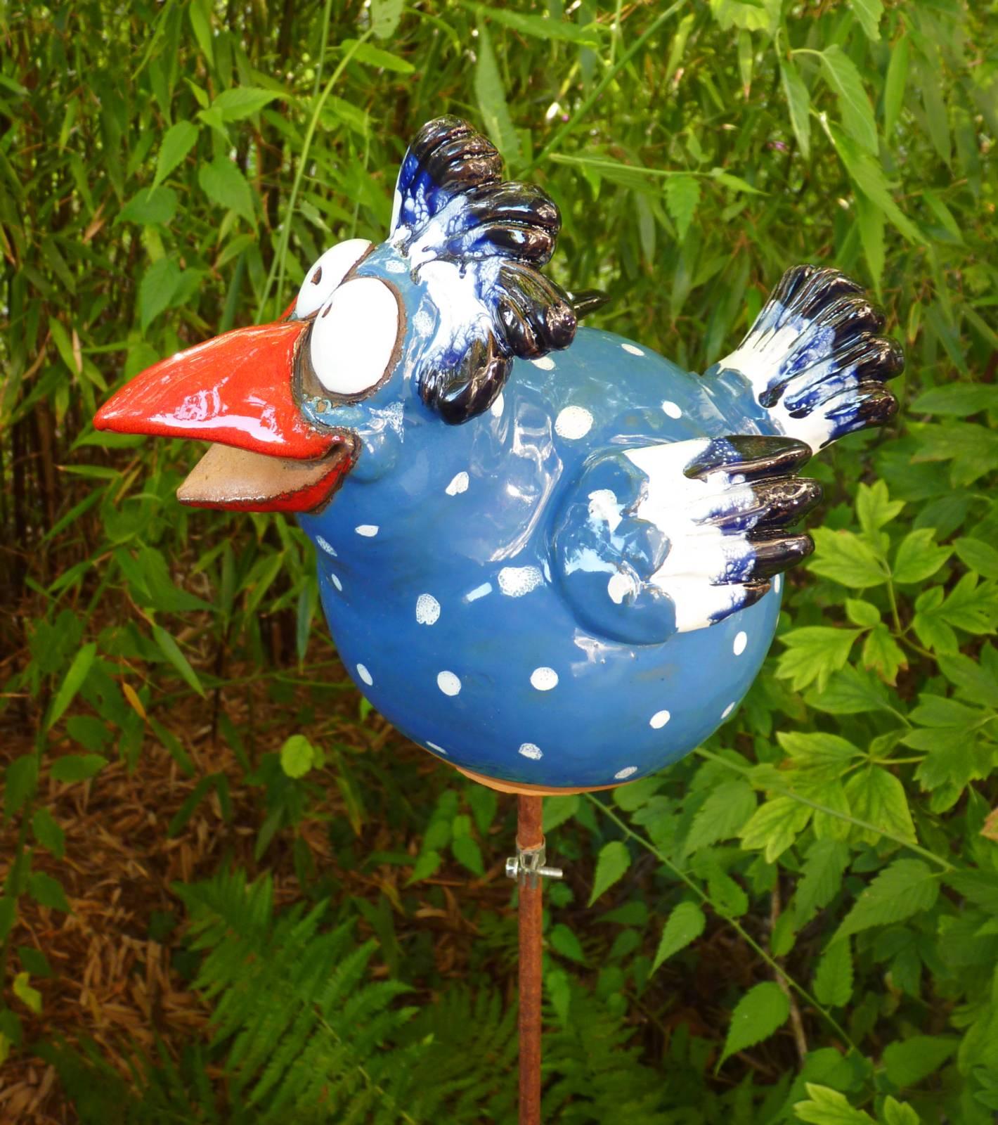 gartenstecker beetstecker fantasie vogel hahn keramik blau gartendeko frostfest ebay. Black Bedroom Furniture Sets. Home Design Ideas