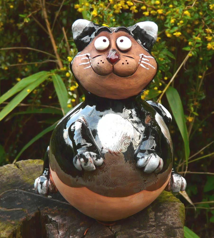 Gartenstecker Gartenkugel  Beetstecker Hund  Keramik Gartendeko Handarbeit