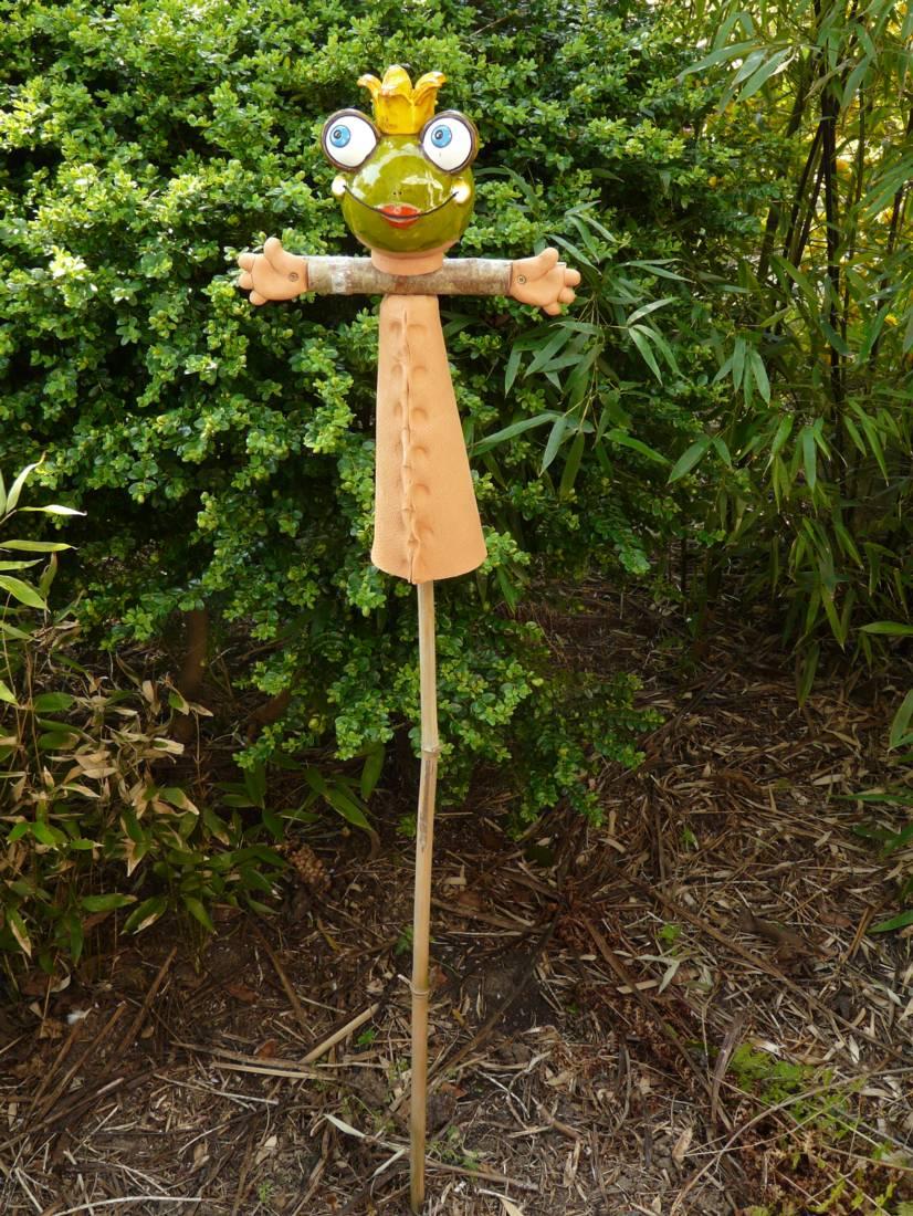 Gartenstecker Blumenstecker Vogelscheuche Frosch Froschkönig Keramik lustig