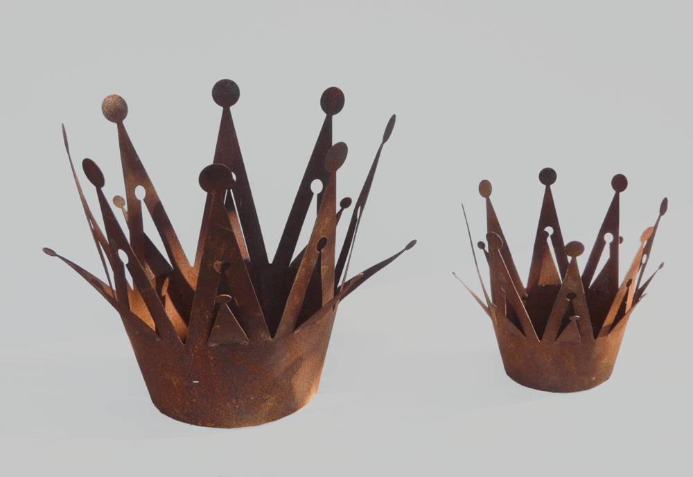 Kronen Edelrost Metall Tischdeko Kerzenhalter 2 Größen zur Auswahl