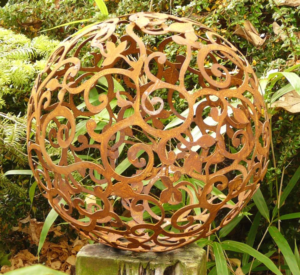 Kugel Ornament Skulptur Gartendeko Dekoration Metall Edelrost Rost
