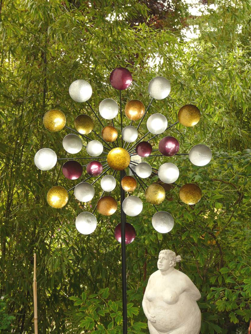 windrad regenbogen gartenstecker metall windspiel h he 197 cm d ca 80 cm 3fach ebay. Black Bedroom Furniture Sets. Home Design Ideas