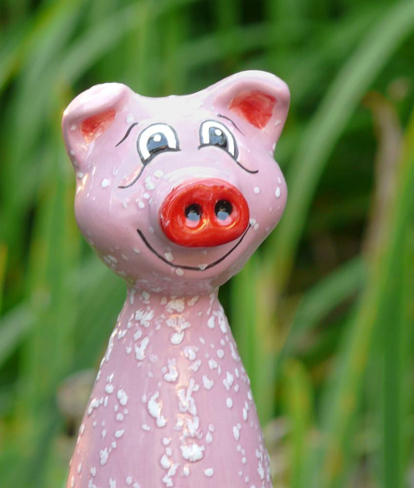 Gartenstecker Schwein Peggy rosa Keramik Gartendekoration