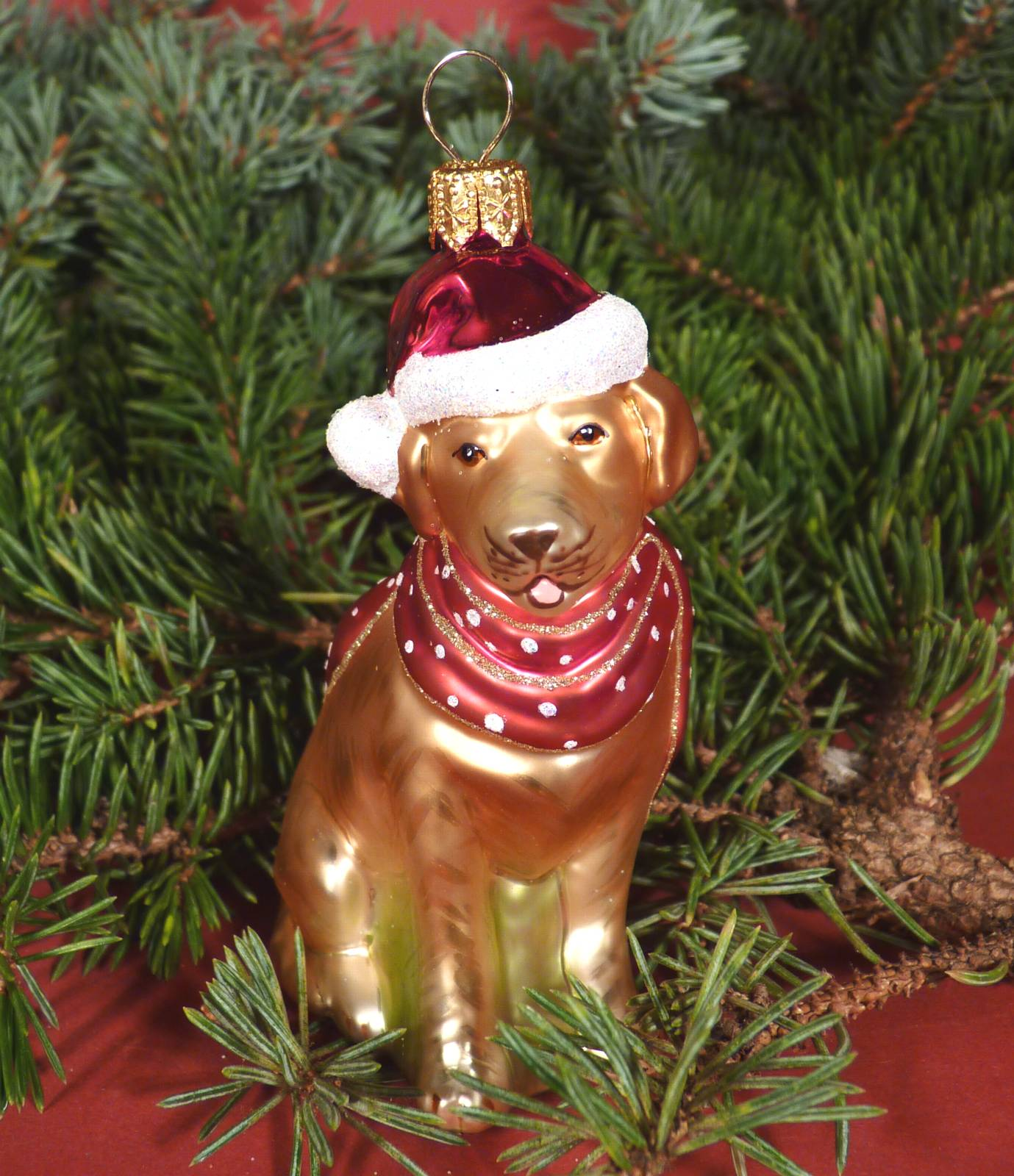 Christbaumschmuck Glas Christbaumkugel Hund Labrador Schal rot ...