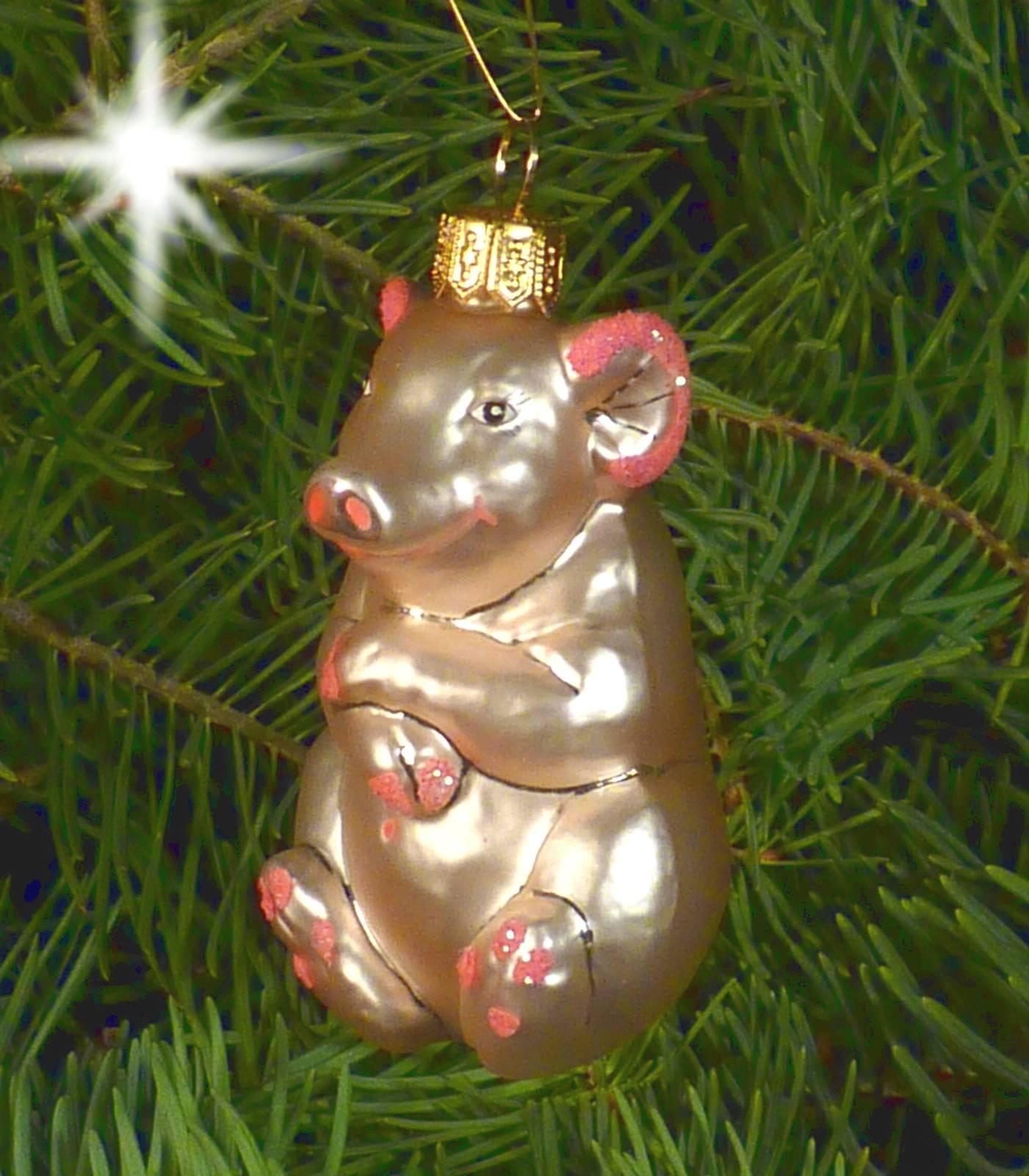Christbaumschmuck Christbaumkugel Glas Figur Ornament Schwein Miss