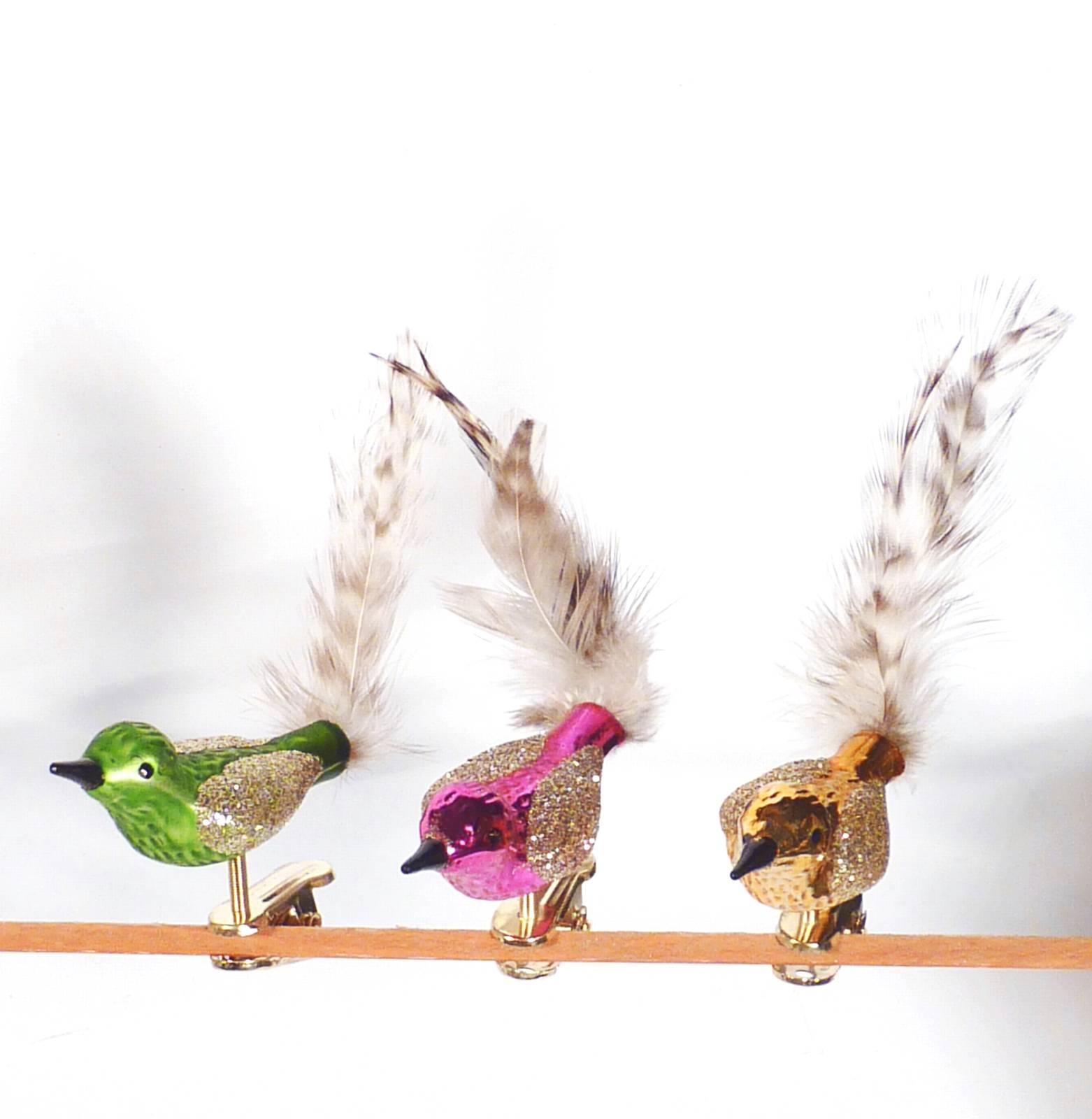 6er Set Christbaumschmuck Glas Bunt Kleine Vogel Vogel 6 Farben