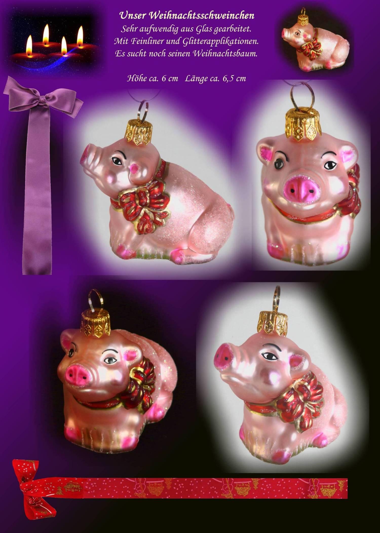 Christbaumschmuck Glas Christbaumkugel Schweinchen Schwein Ornament