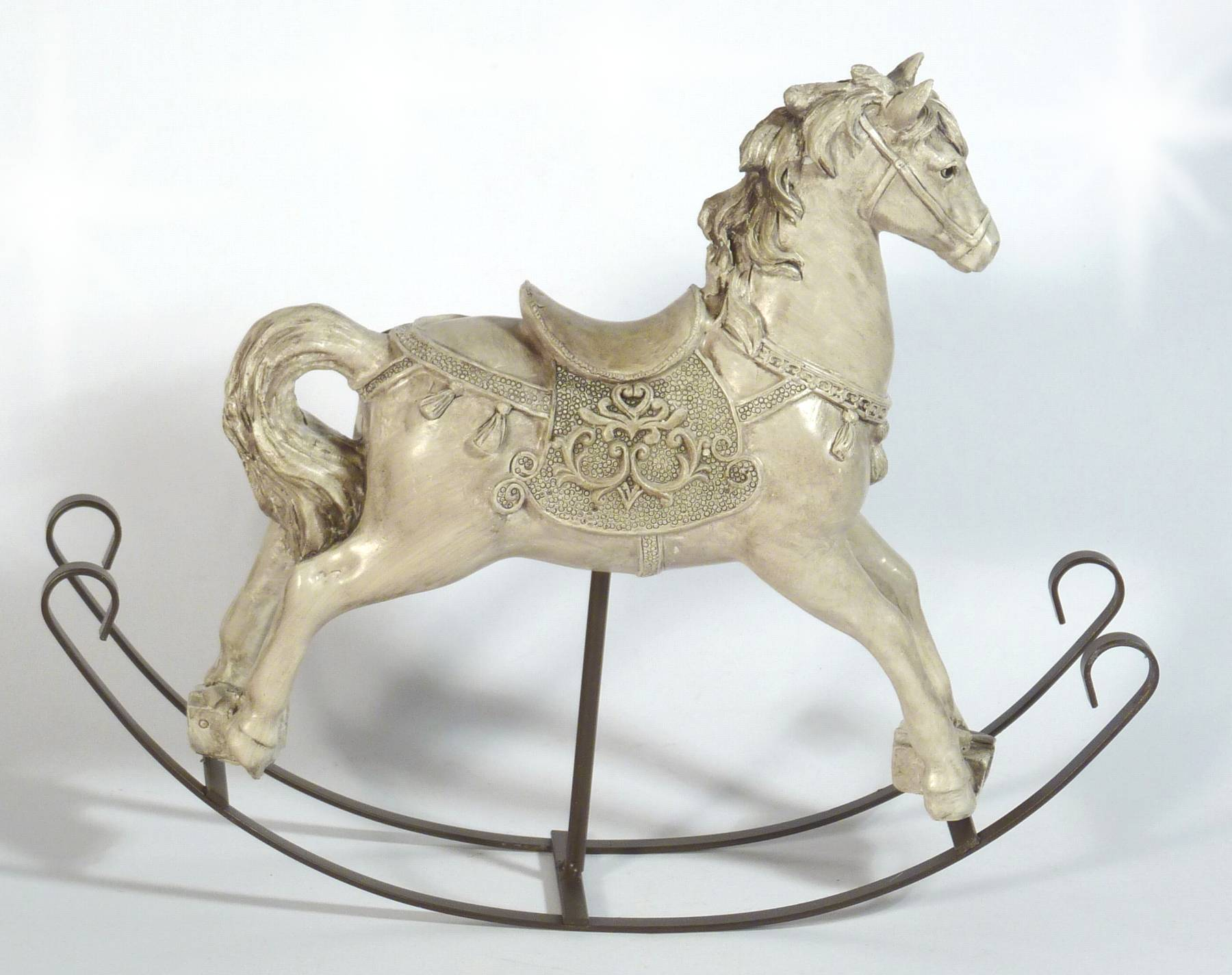 nostalgie schaukelpferd pferd deko figur creme vintage. Black Bedroom Furniture Sets. Home Design Ideas