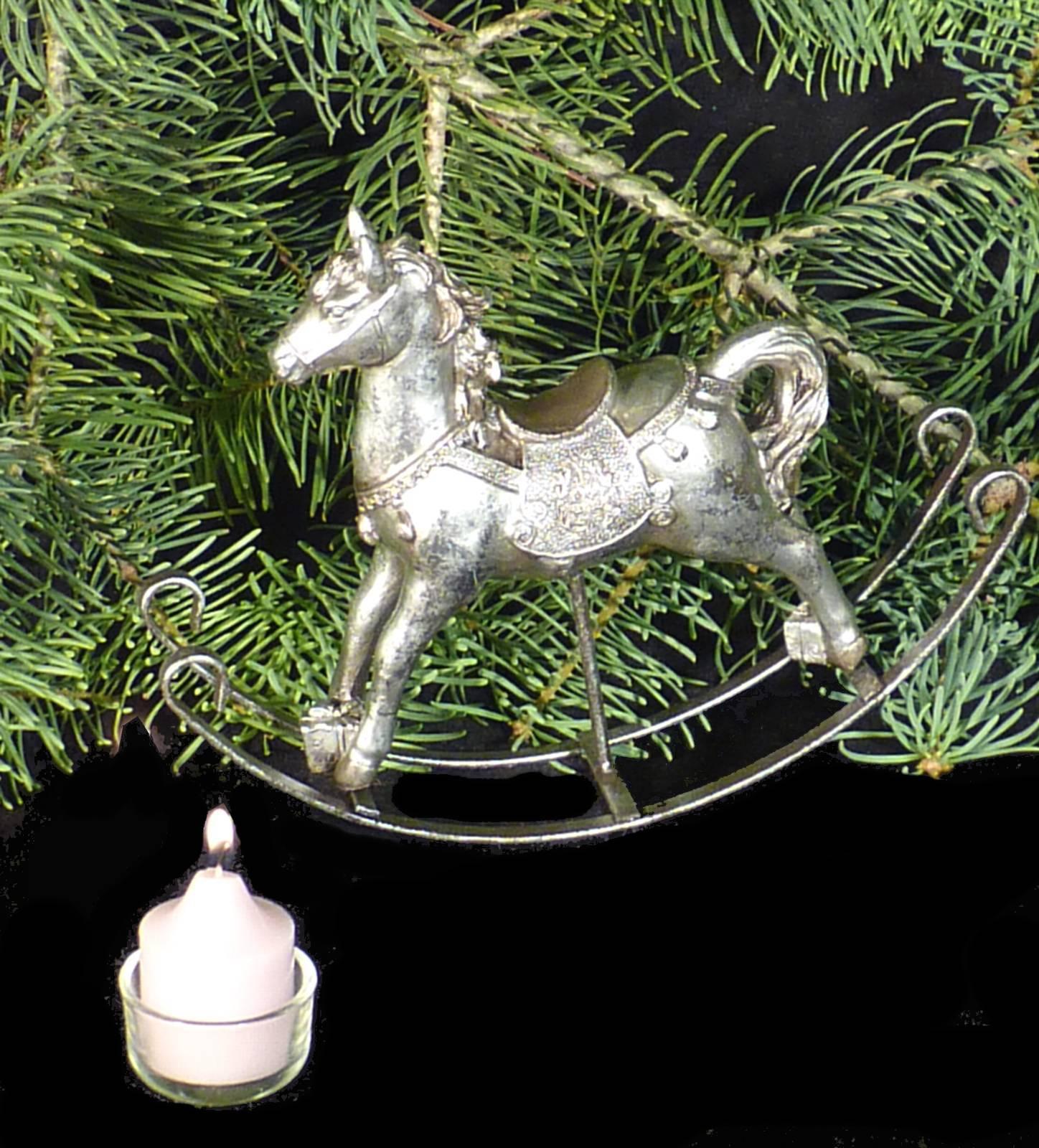 nostalgie schaukelpferd pferd deko figur silber vintage. Black Bedroom Furniture Sets. Home Design Ideas