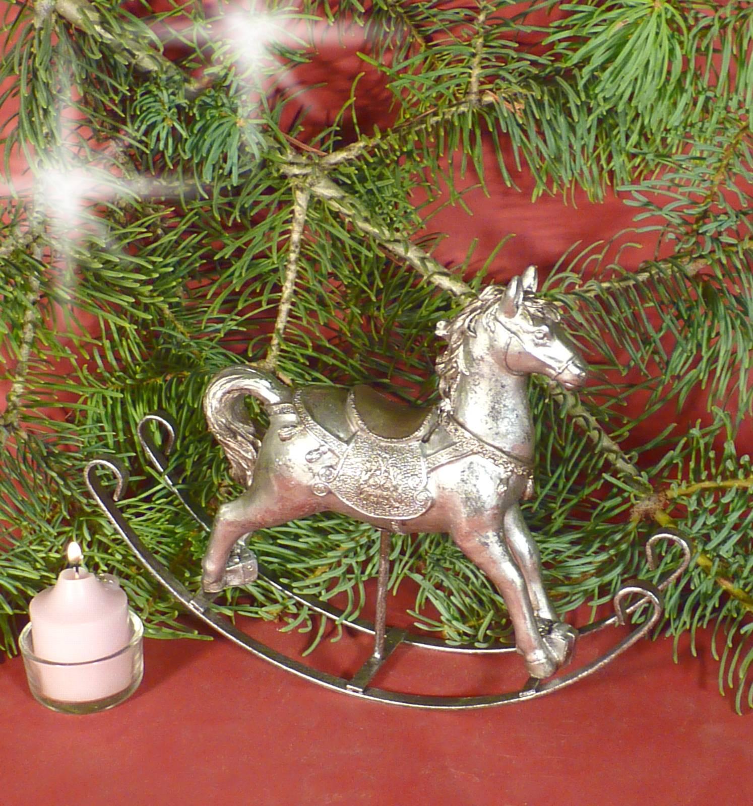 Nostalgie Schaukelpferd Pferd Deko Figur Creme Vintage: NOSTALGIE Schaukelpferd Pferd Deko Figur Silber Vintage