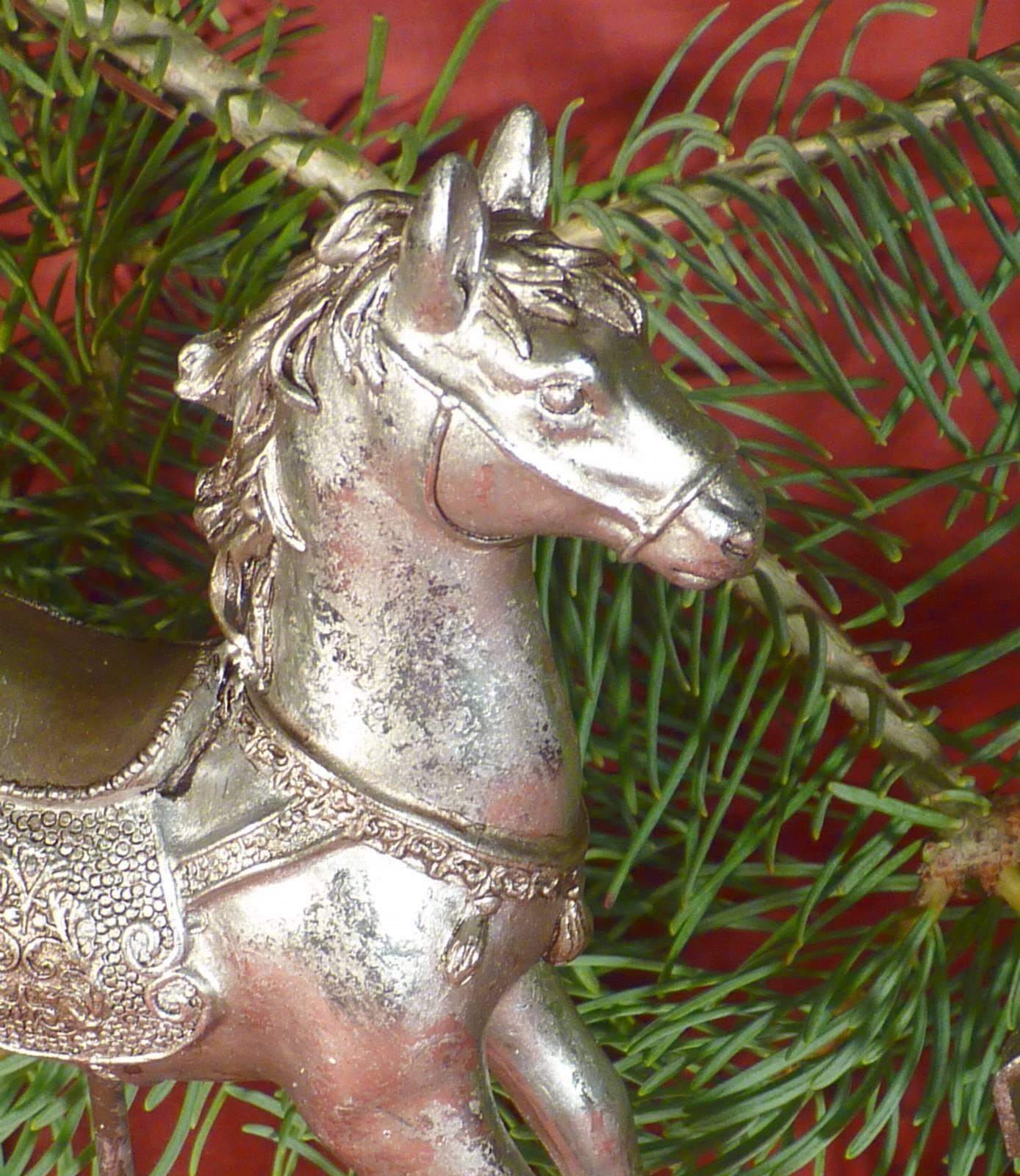 Schaukelpferd Christmas Pferd Weihnachten Deko Shabby: NOSTALGIE Schaukelpferd Pferd Deko Figur Silber Vintage