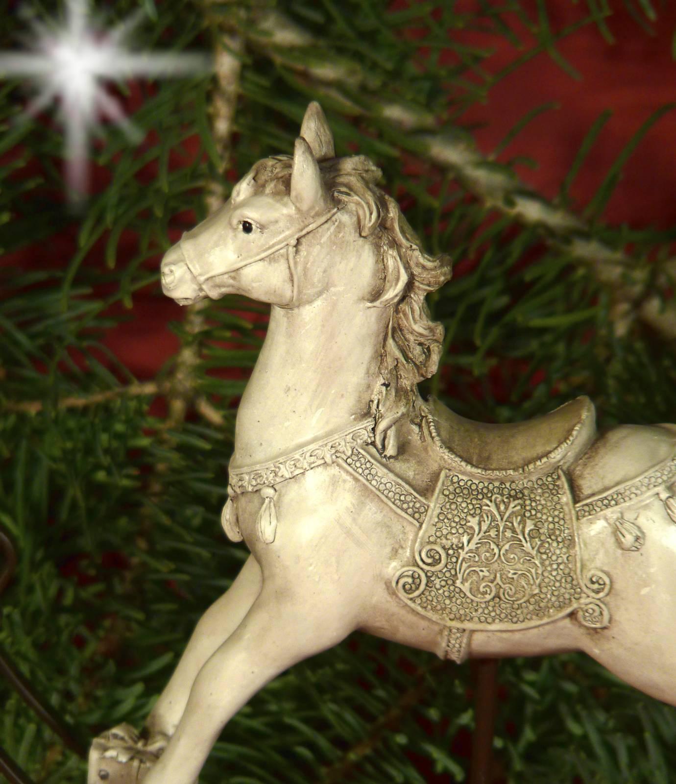 Nostalgie Schaukelpferd Pferd Deko Figur Creme Vintage