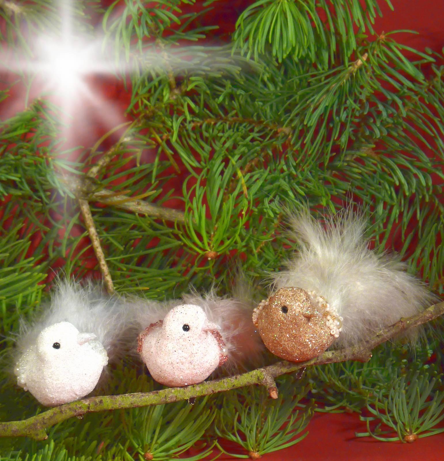 Vogel Mit Clip Federn Perlen Und Glitter Christbaumschmuck Ebay